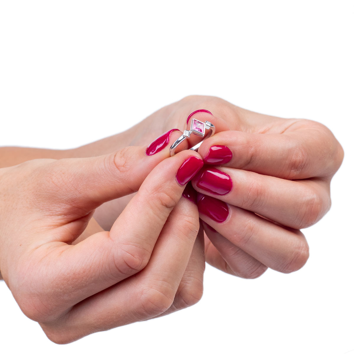 Edinstven Prstan Karo roza Safir in Princess diamanti na roki