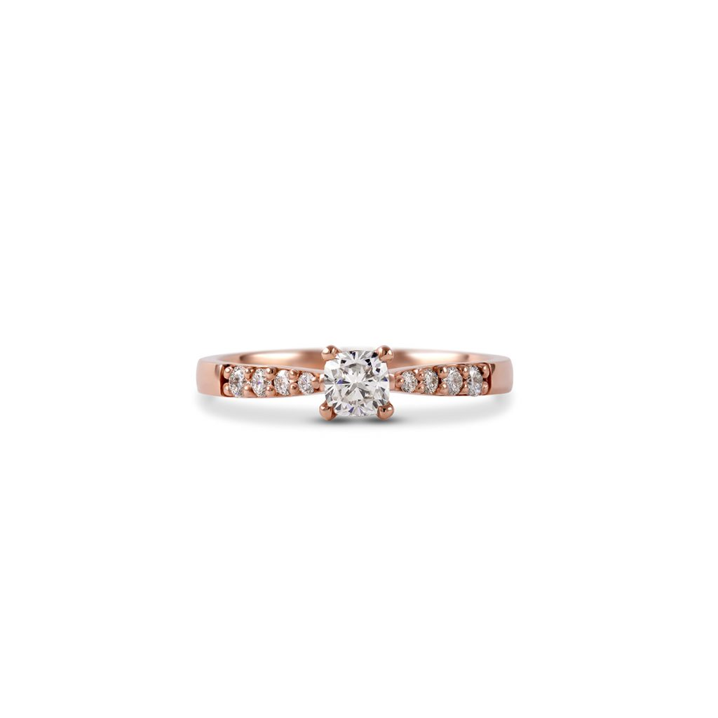 Diamantni zarocni prstan Petite Cushion roza zlato